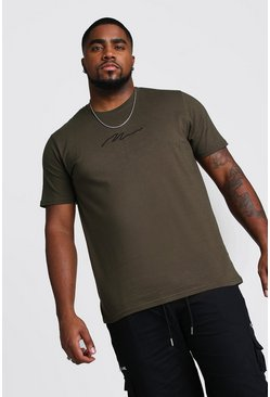 Mens Khaki Big And Tall MAN Script T-Shirt