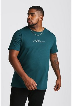 Mens Teal Big And Tall MAN Script T-Shirt
