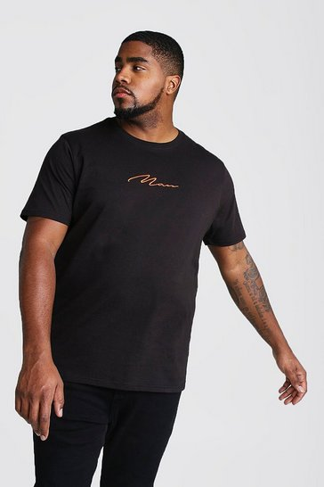 Mens Black Big And Tall MAN Script T-Shirt