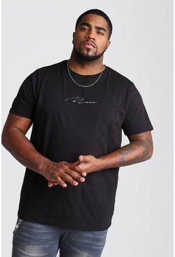 Big And Tall MAN Script T-Shirt, Black, HOMBRE