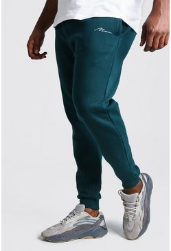 Mens Teal Big And Tall MAN Script Skinny Fit Jogger