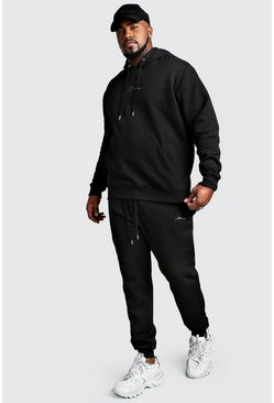 Big And Tall MAN Script Hooded Tracksuit, Black