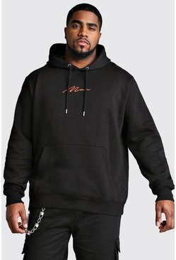 Mens Black Big And Tall MAN Script Hoodie