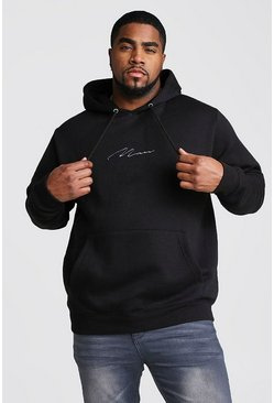 Big And Tall MAN Script Hoodie, Black