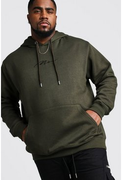 Herr Khaki Big And Tall MAN Script Hoodie