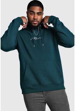 Mens Teal Big And Tall MAN Script Hoodie