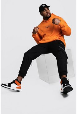 Mens Orange Big And Tall MAN Dash Hoodie