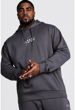 Mens Charcoal Big And Tall MAN Dash Hoodie