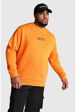 Mens Orange Big And Tall MAN Dash Sweater