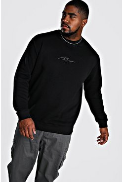 Black Big And Tall Man Script Sweater