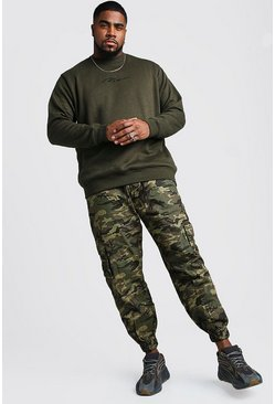 Mens Khaki Big And Tall MAN Script Sweater
