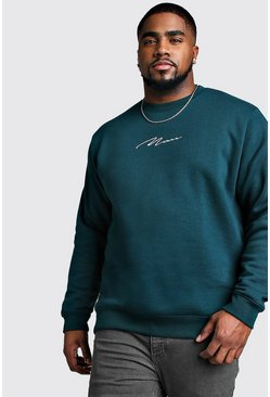 Mens Teal Big And Tall MAN Script Sweater