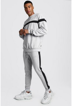 Hooded Tracksuit With Contrast Panels, Grey, HOMMES