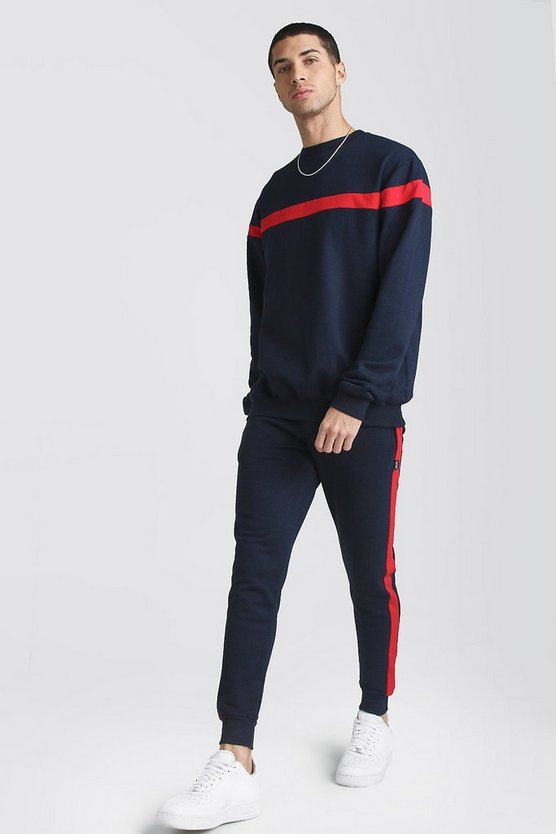 Navy Hooded Tracksuit With Contrast Panels