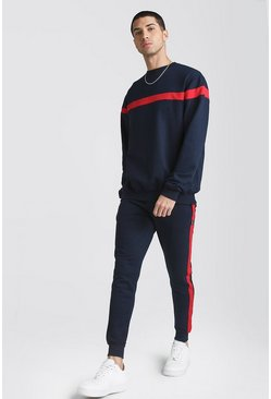 Mens Navy Hooded Tracksuit With Contrast Panels