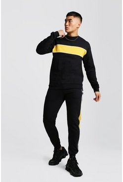 Black Colour Block Sweater Tracksuit With Piping