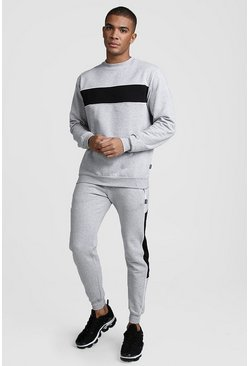 Mens Grey Colour Block Sweater Tracksuit With Piping