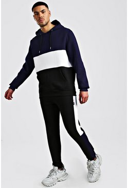 Colour Block Hooded Tracksuit, Navy, HOMMES