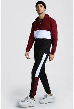 Mens Wine Colour Block Hooded Tracksuit