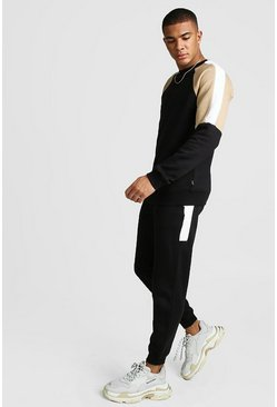 Mens Black Colour Block Sweater Tracksuit