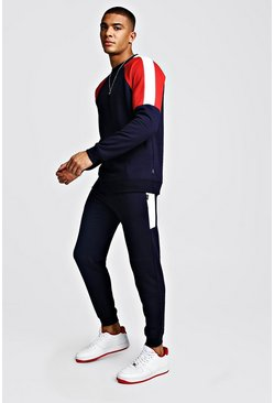 Herr Navy Colour Block Sweater Tracksuit