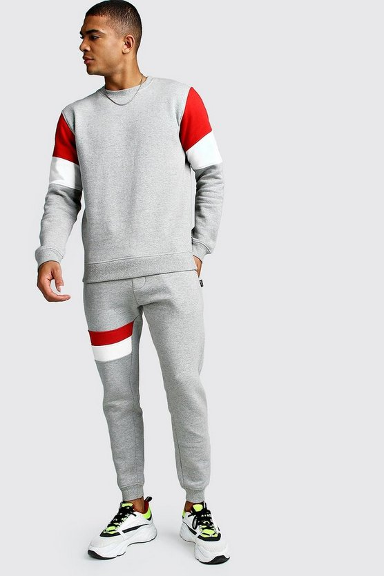 Grey Sweater Tracksuit With Contrast Panel