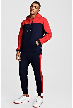 Navy Colour Block Hooded Tracksuit