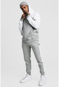 Mens Grey Colour Block Hooded Tracksuit