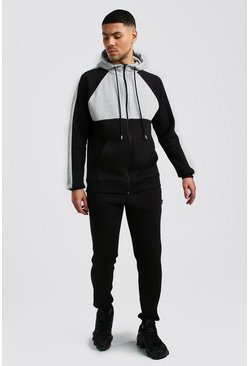 Herr Black Colour Block Hooded Tracksuit