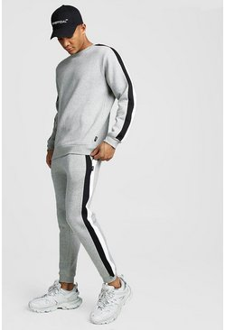 Mens Grey marl Sweater Tracksuit With Side Panels
