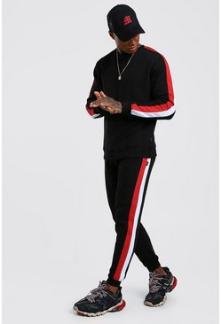Sweater Tracksuit With Side Panels, Black, HOMMES