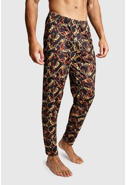 Chain Print Lounge Pants, Black