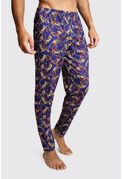 Mens Navy Chain Print Lounge Pants