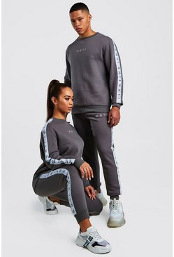 Mens Charcoal His Sweater Tracksuit With Tape Detail