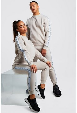 Mens Stone His Sweater Tracksuit With Tape Detail