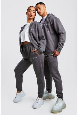 Mens Charcoal His 3 Piece Zip Hoodie Tee & Jogger Set