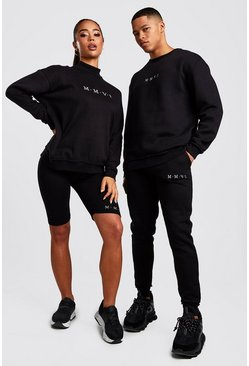 Black His Raw Edge Loose Fit Sweater Tracksuit