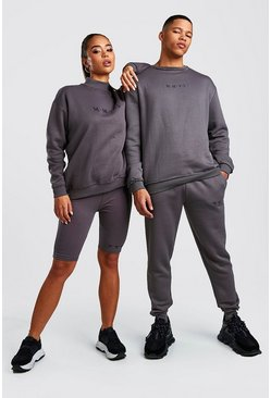 Herr Charcoal His Raw Edge Loose Fit Sweater Tracksuit