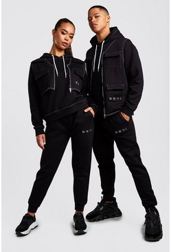 Mens Black His 3 Piece Utility Tracksuit With Contrast Stitching