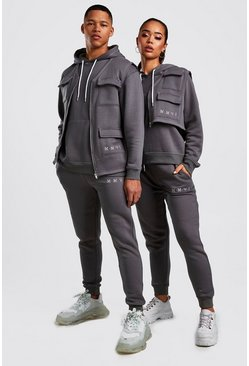 Mens Charcoal His 3 Piece Utility Tracksuit With Contrast Stitching