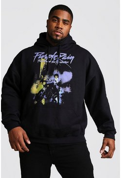 Herr Black Big And Tall Purple Rain License Hoodie