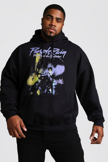 Mens Black Big And Tall Purple Rain License Hoodie