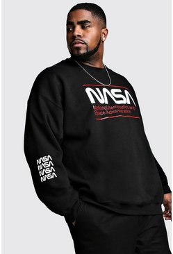 Herr Black Big And Tall NASA Print License Sweat