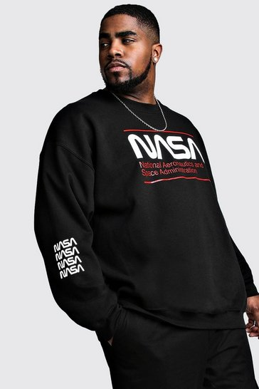 Mens Black Big And Tall NASA Print License Sweat