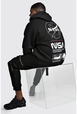 Mens Black Big And Tall NASA Print License Hoodie