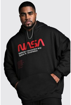 Mens Black Big And Tall NASA License Hoodie