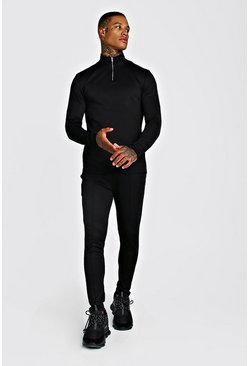 Mens Black MAN Signature Poly Tracksuit With Pintuck