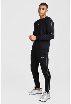 Mens Black MAN Skinny Fit Tracksuit With Reflective Detail