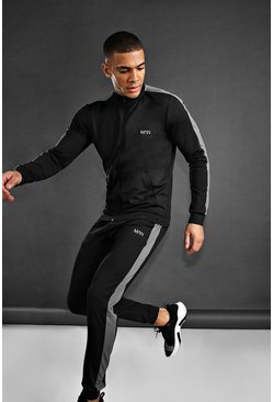 Herr Black MAN Skinny Fit Funnel Neck Tracksuit