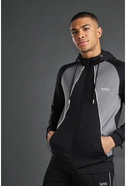Mens Black MAN Zip Through With Reflective Detail